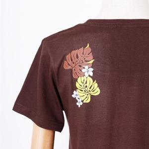 半袖 フラ Tシャツ モンステラ&プルメリア柄〈アカ ブラウン ライムグリーン〉M L コットン 100% 送料無料 ハワイアン フラダンス カットソー レッド|atelier-ayumi|09