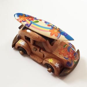 ハワイアンウッドカー サーフボードワーゲン〈カラフルミックス〉ペイント木彫り 【アジアン雑貨】【ハワイアン雑貨】|atelier-ayumi