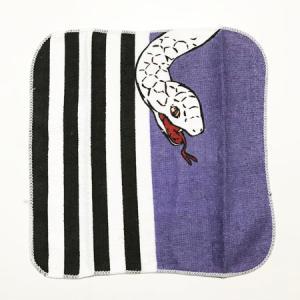 和柄 ミニタオル 2枚組 Eセット 白蛇 ストライプ 蝶々 白 黒 パープル ピンク 送料無料  ハンドタオル ハンカチ 入学 通園 通学 和装 浴衣 着物 に|atelier-ayumi