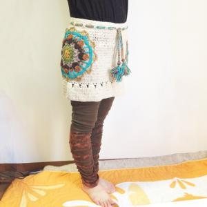 裾タイダイ染めくしゅくしゅレギンス〈カーキ〉レギパン アジアンエスニック スパッツパンツ 綿100% タイ アジアンエスニック|atelier-ayumi