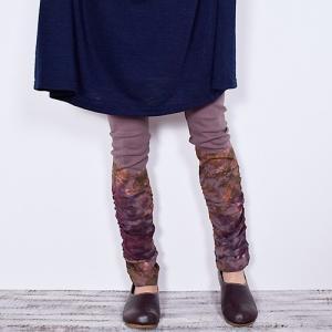 裾 タイダイ柄 くしゅくしゅ レギンス〈ブラウン〉 送料無料 クリックポスト スパッツ ヨガパンツに パウスカートの下に★ タイ製|atelier-ayumi