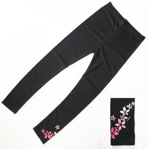プルメリア ラメプリント レギンス〈ブラック&ピンク〉M L LL 3Lフラダンス衣装 送料無料 パウスカートの下に スパッツ ヨガパンツ に|atelier-ayumi