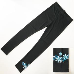 ティアレ ラメ プリント レギンス〈ブラック&ブルー〉M L LL 3L フラダンス衣装 送料無料 パウスカート の下に★ スパッツ ヨガパンツ に |atelier-ayumi