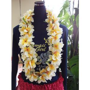プルメリアレイ 〈 ホワイト&イエロー 〉 ハワイアンフラワーレイ フラダンスレイ 造花 ハワイアンレイ ハワイアンウエディング atelier-ayumi
