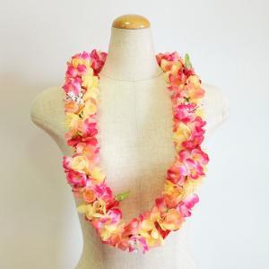 トロピカル プルメリアレイ  ピンク系 ハワイアンレイ ハワイアンフラワーレイ ハワイアンウエディング atelier-ayumi