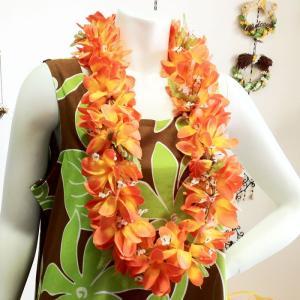 プルメリアレイ 〈 オレンジ 〉 ハワイアンフラワーレイ フラダンスレイ 造花 ハワイアンレイ ハワイアンウエディング atelier-ayumi