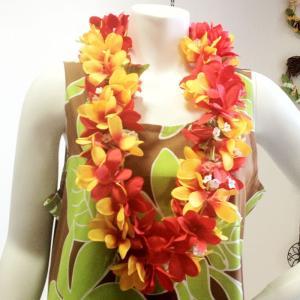 プルメリアレイ〈 レッド&ライトオレンジ 〉 ハワイアンフラワーレイ フラダンスレイ 造花 ハワイアンレイ ハワイアンウエディング atelier-ayumi