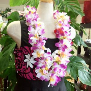 プルメリアレイ 〈 パープル 〉 ハワイアンフラワーレイ フラダンスレイ 造花 ハワイアンレイ ハワイアンウエディング atelier-ayumi
