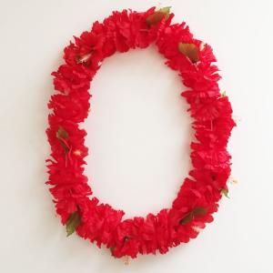 カーネーション ハイビスカスレイ レッド ハワイアンレイ フラワーレイ  フラダンスレイ ハワイアンウエディング|atelier-ayumi