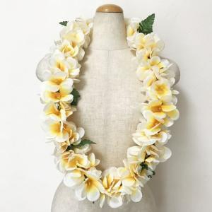 プルメリア レイ〈ホワイト系〉ハワイアンレイ ハワイアンフラワーレイ トロピカル フラダンス 白|atelier-ayumi
