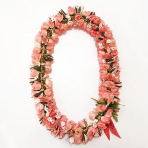 ロケラニレイ カピオラニ ハワイアンレイ  サーモンピンク 【クリックポスト 対応可能】 フラワーレイ ハワイアンウエディングに フラダンスレイ バラ 薔薇 atelier-ayumi
