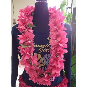 プルメリアレイ 〈 ピンク 〉 ハワイアンフラワーレイ フラダンスレイ 造花 ハワイアンレイ ハワイアンウエディング atelier-ayumi