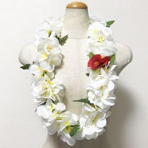 ハワイアン フラワーレイ ハイビスカス & プルメリアレイ〈ホワイト&レモンイエロー〉ハワイアンレイ トロピカル フラダンス ウエディングに|atelier-ayumi