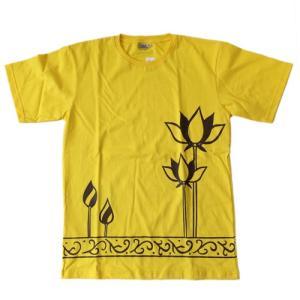 半袖 Tシャツ ロータス タパ 柄〈ブラック〉メンズ Mサイズ  送料無料 男女兼用 コットン100% アジアンTシャツ タイ製 atelier-ayumi
