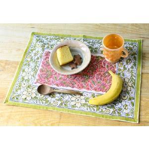 ブロック プリント ランチョンマット マーガレット 2色 2枚組〈オレンジ&グリーン〉送料無料 インド綿 100% テーブルランナー アジアンティスト コットン|atelier-ayumi