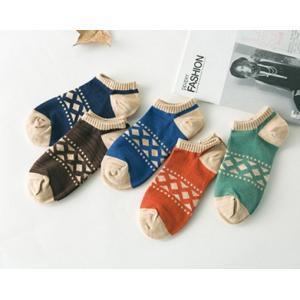 紳士 スニーカー ソックス ダイヤボーダー メンズ ソックス 靴下 エスニック メール便 対応可能 ショートソックス フットカバー 条件付き 送料無料|atelier-ayumi