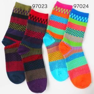 メンズ ソックス カラフルペアー 左右色違い クルー丈 97024(オレンジ・水色) 同色2足組 送料無料 紳士 靴下 メンズ 靴した バイカラー ライン ボーダー atelier-ayumi