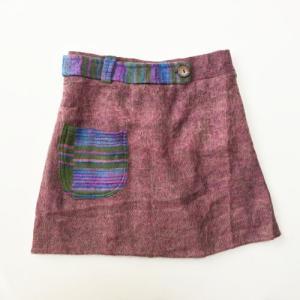 エスニック ミニスカート〈ピンク系〉ショートスカート 起毛アクリル100% アジアン エスニック ネパール製|atelier-ayumi
