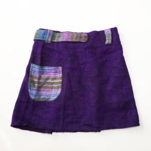 エスニックミニスカート〈パープル系〉ショートスカート 起毛アクリル100% アジアンエスニック ネパール製|atelier-ayumi