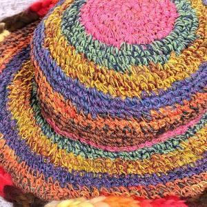 カラフルつば☆レインボー カラー ヘンプハット 〈ブラウン〉ネパール製 ハワイアン リゾート 送料無料 クリックポスト 女優帽|atelier-ayumi|03