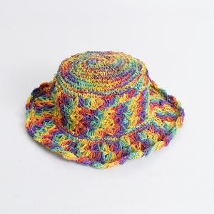 ワイヤー入り ヘンプハット 透かし編み〈レインボー グラデーション〉ネパール製 リゾート 自然素材 帽子 送料無料 エスニック ハット 麦わら帽子 atelier-ayumi
