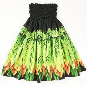 パウスカート 75cm ウエスト無地 ティーリーフ柄〈ブラック〉【送料無料】ハワイアンフラダンス衣装 4本ゴム|atelier-ayumi