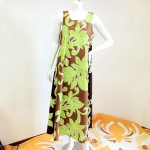 フラダンスドレス ライムグリーンティアレ ブラウン マキシワンピース ロングドレス ハワイアンファブリック ウエディング 結婚式ムームー|atelier-ayumi
