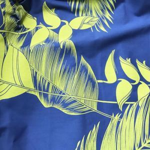 パウスカート 4本ゴム 67cm 72cm 77cm トロピカルリーフ & ヘリコニア ロイヤルブルー & シトロンイエロー 送料無料 ハワイアンフラダンス衣装|atelier-ayumi|03