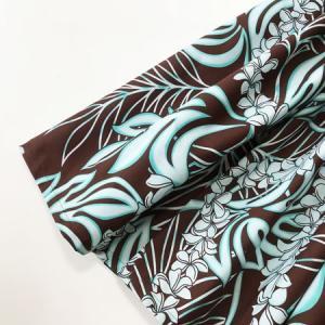 パウスカート 72cm プルメリアレイ&モンステラ ブラウン&ターコイズ ハンドメイド 送料無料 ハワイアンフラダンス リーフ|atelier-ayumi|02