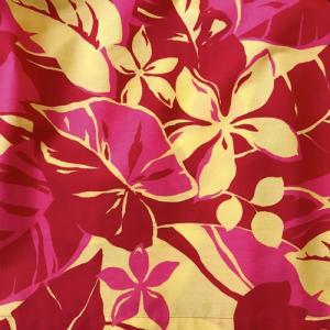 パウスカート 4本ゴム 72cm 77cm ウエスト無地 プルメリア 総柄〈レッド&イエロー〉 送料無料 ハワイアン フラダンス衣装|atelier-ayumi|03