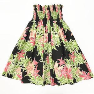 パウスカート 72cm 77cm  スパイダーリリー柄〈ブラック〉ハンドメイド 送料無料 ハワイアン フラダンス 衣装 黒 赤 リーフ 日本製|atelier-ayumi