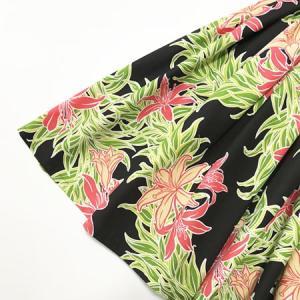パウスカート 72cm 77cm  スパイダーリリー柄〈ブラック〉ハンドメイド 送料無料 ハワイアン フラダンス 衣装 黒 赤 リーフ 日本製|atelier-ayumi|02