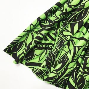パウスカート 72cm ティアレ&タパ柄〈ブラック&グリーン〉 フラダンス ハワイアン 送料無料  4本ゴム 幾何学模様 リーフ ツートンカラー|atelier-ayumi|02