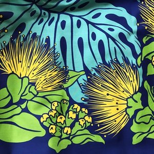 パウスカート 72cm モンステラ & レフア〈ロイヤルブルー〉 送料無料 4本ゴム ハンドメイド ハワイアンフラダンス衣装  オヒア レフア|atelier-ayumi|03