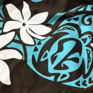 パウスカート 72cm ホヌ&ホワイトティアレ タパ柄 ウエーブ〈ブラウン&ターコイズ〉 4本ゴム ハンドメイド 送料無料 ハワイアン フラダンス ウミガメ 海亀|atelier-ayumi|03