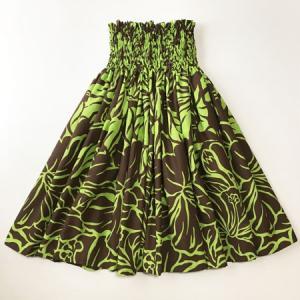 パウスカート 72cm ハイビスカス 総柄〈ブラウン&ライムグリーン〉 4本ゴム ハンドメイド 送料無料 ハワイアン フラダンス|atelier-ayumi