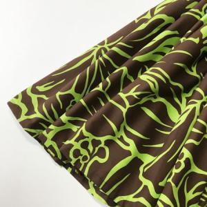 パウスカート 72cm ハイビスカス 総柄〈ブラウン&ライムグリーン〉 4本ゴム ハンドメイド 送料無料 ハワイアン フラダンス|atelier-ayumi|02