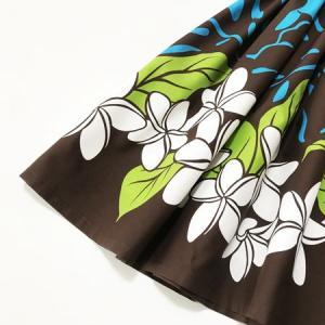 パウスカート 72cm / 77cm プルメリア モンステラ 〈ブラウン ブルー〉 送料無料 ハワイアン フラダンス 茶 水色 リーフ 日本製|atelier-ayumi|02