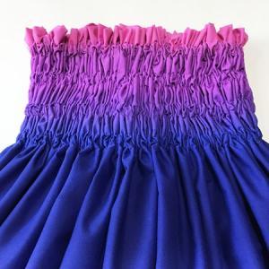 アウトレット パウスカート 77cm ボーダー グラデーション〈ブルー&パープル&ピンク〉4本ゴム ハワイアン フラダンス 衣装 パウ 日本製 青 紫|atelier-ayumi|03