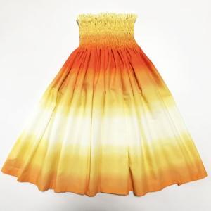 パウスカート 67cm 72cm 77cm ボーダー グラデーション〈オレンジ&イエロー〉4本ゴム ハワイアン フラダンス 衣装 パウ 日本製 黄色|atelier-ayumi