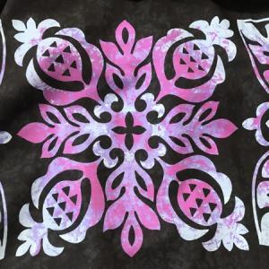 パウスカート ハワイアン キルト グラデーション 72cm 77cm ブラック パープル むら染め 送料無料 ハンドメイド フラダンス 衣装 4ヤード 日本製 パイナップル|atelier-ayumi|04