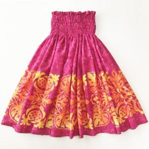 パウスカート ハワイアン キルト グラデーション 72cm 77cm 〈 ピンク オレンジ 〉 むら染め 送料無料 4本ゴム フラダンス 衣装 4ヤード 日本製  パイナップル atelier-ayumi
