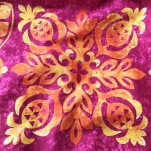 パウスカート ハワイアン キルト グラデーション 72cm 77cm 〈 ピンク オレンジ 〉 むら染め 送料無料 4本ゴム フラダンス 衣装 4ヤード 日本製  パイナップル atelier-ayumi 03