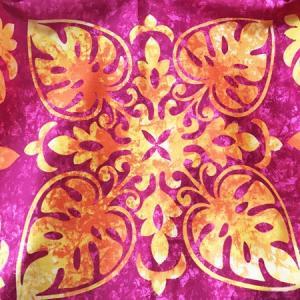 パウスカート ハワイアン キルト グラデーション 72cm 77cm 〈 ピンク オレンジ 〉 むら染め 送料無料 4本ゴム フラダンス 衣装 4ヤード 日本製  パイナップル atelier-ayumi 04
