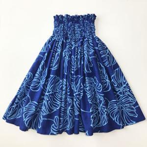 パウスカート 72cm むら染め風 ビッグ モンステラ柄〈 ロイヤル ブルー 〉 4本ゴム 送料無料 ハワイアン フラダンス衣装 日本製 青 水色 紺|atelier-ayumi