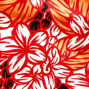 パウスカート 4本ゴム 72cm 77cm ウエスト無地 むら染め タパ柄 モンステラ〈ブラック&レッド〉 送料無料 ハワイアン フラダンス 日本製 古典柄 ウエーブ|atelier-ayumi|03