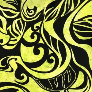 パウスカート 4本ゴム 72cm 77cm ウエスト無地 むら染め タパ柄 モンステラ〈ブラック&イエロー〉 送料無料 ハワイアン フラダンス 日本製 古典柄 ウエーブ|atelier-ayumi|03