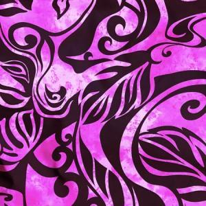 パウスカート 72cm 77cm ウエスト無地 むら染め タパ柄 モンステラ〈 ブラック & ピンク 〉 送料無料 4本ゴム ハワイアン フラダンス 日本製 古典柄 ウエーブ atelier-ayumi 03