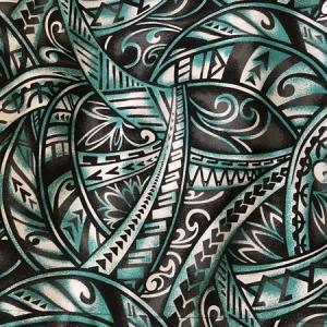パウスカート ウエスト無地 サンドブラスティング タパ柄〈ブラック&エメラルド〉日本製 送料無料 ハワイアン フラダンス 古典柄 幾何学模様 グリーン|atelier-ayumi|03