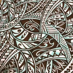 パウスカート ウエスト無地 サンド ブラスティング タパ柄〈ブラウン&ターコイズ〉日本製 送料無料 ハワイアン フラダンス 古典柄 幾何学模様 グリーン 茶|atelier-ayumi|05